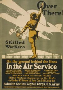 Vintage War Poster Over there! Skilled workers On the ground behind the lines - In the Air Service